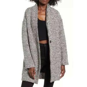 BLANKNYC Say Anything Tweed Coat Black White